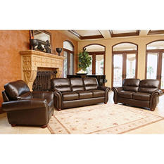 Montgomery Top-Grain Leather Sofa, Loveseat and Armchair