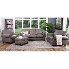 Helena Top-Grain Leather Sofa, Loveseat, Armchair and Ottoman Set