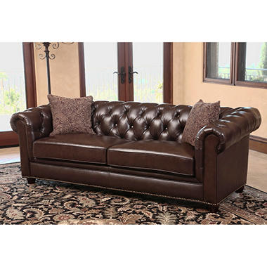 Calgary chesterfield top grain leather sofa sam39s club for Leather sectional sofa calgary