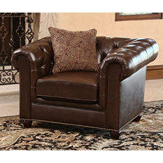 Calgary Chesterfield Top-Grain Leather Armchair