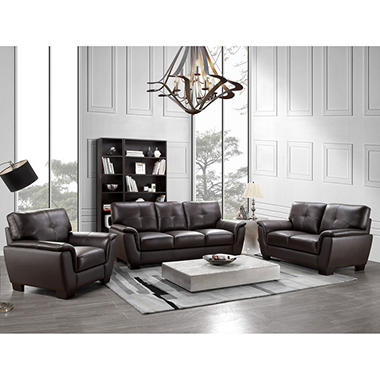 Liston Top Grain Leather Sofa Loveseat And Armchair Set Sam 39 S Club