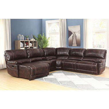 Leather Reclining Sectional Sofa 6 Piece Set Vintage