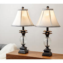 Reed Pineapple Table Lamps, Set of 2