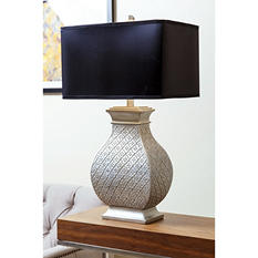 Mara Silver Embossed Table Lamp