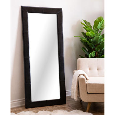 Emma full length floor mirror leather frame assorted for Full length mirror black frame