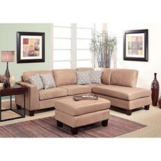 Barlett Upholstered Sectional Sofa, Beige Microsuede