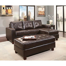 Claremont Leather Sofa with Reversible Chaise Sectional