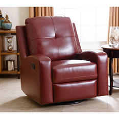 Stevens Leather Swivel Glider Recliner, Brown