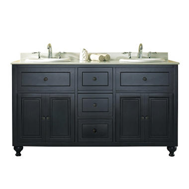 Ove Decors Kensington Double Vanity - Black w/ White Top