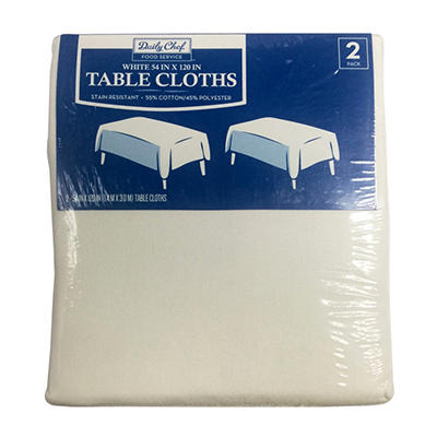 "Bakers & Chefs Rectangular Tablecloth - White - 54"" x 120"" - 2 pk."