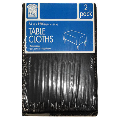 "Bakers & Chefs Rectangular Tablecloth - Black or Burgundy - 54"" x 120"" - 2 pk."