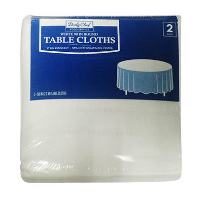 """Bakers & Chefs Round Tablecloth - White - 90"""" - 2 pk."""