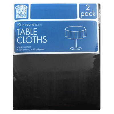 "Bakers & Chefs Round Tablecloth - Black or Burgundy - 90"" - 2 pk."