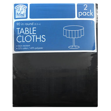 Bakers & Chefs Round Tablecloth - Black or Burgundy - 90