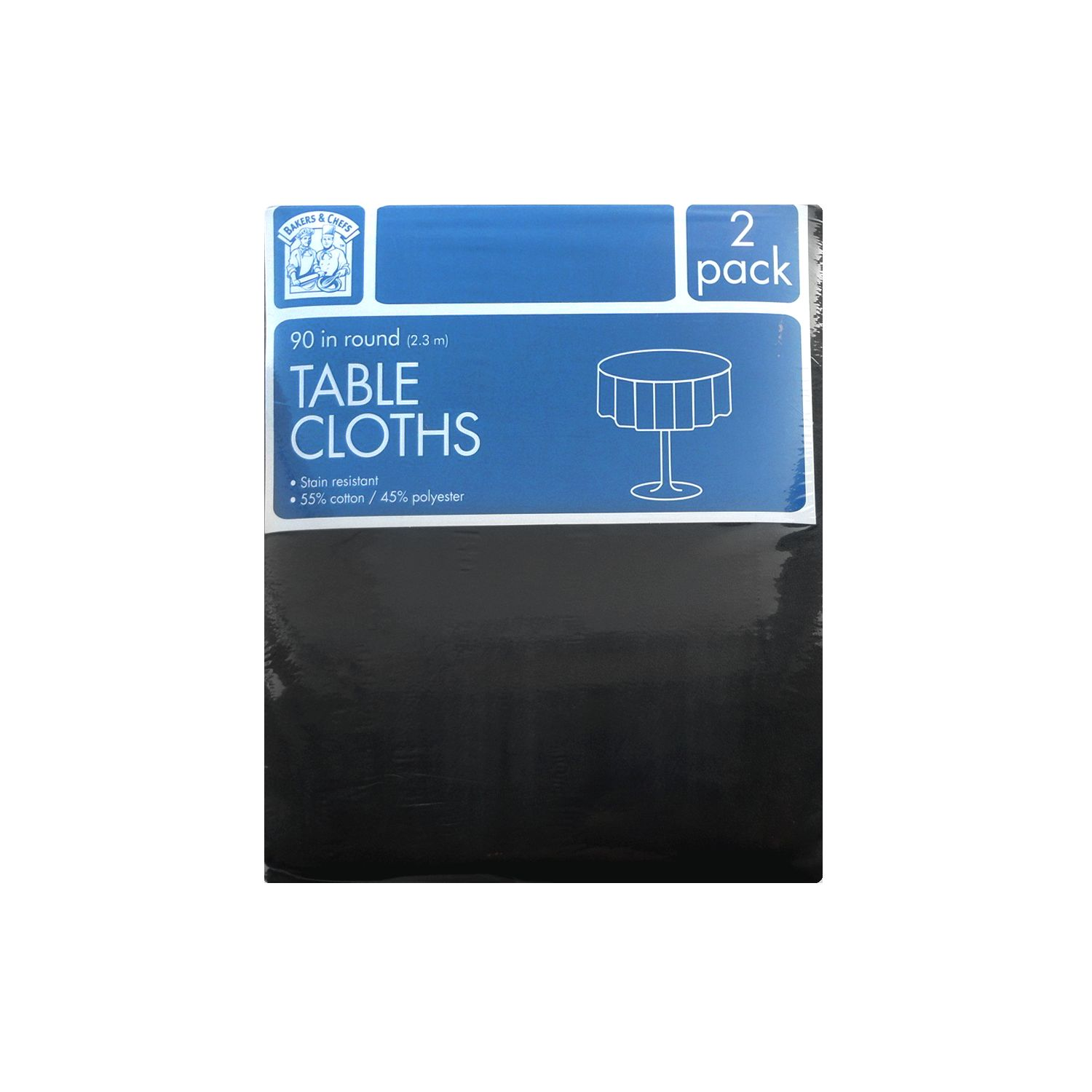 "Bakers & Chef's Bakers & Chefs Round Tablecloth - Black - 90"" - 2 pk. at Sears.com"