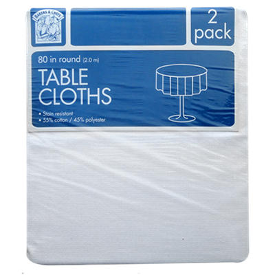 """Bakers & Chefs Round Tablecloth - White - 80"""" - 2 pk."""
