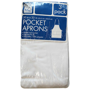 "Bakers & Chefs Pocket Aprons - White - 30"" x 33"" - 3 pk."