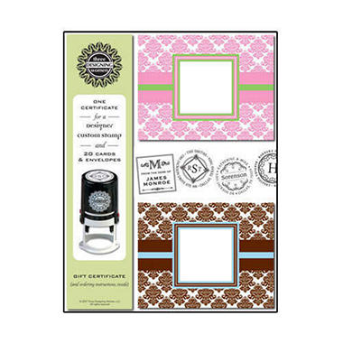 Designer Stationery & Custom Stamp Damask Gift Set