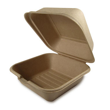 World Centric Compostable/ Biodegradable Fiber Take Out Burger Boxes - 500 ct.