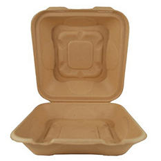 World Centric Compostable/Biodegradable Fiber Hinged 1 Compartment Togo Boxes (300 ct.)