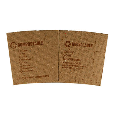 World Centric Compostable/ Biodegradable 10 to 20 oz. Paper Sleeves - 1,000 ct.