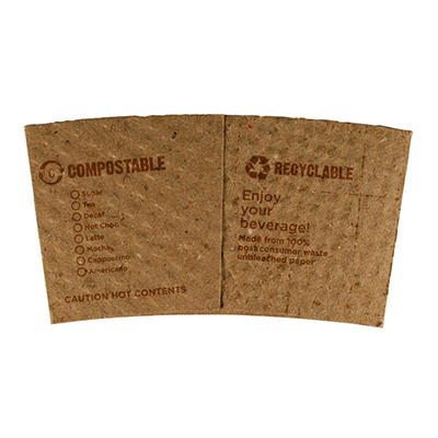 World Centric Compostable/ Biodegradable Paper Sleeves, 10-20 oz. (1,000 ct.)