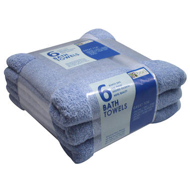 "Bath Towels - Blue - 25"" x 50"" - 6 pk."