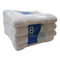 "Bath Towels, White (25"" x 54"", 8pk.)"