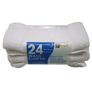 "Washcloths - White - 12"" x 12"" - 24 pk."