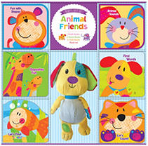 Bath books with built-in squeakers, cloth books with crinkle sounds, and colorful board books are the perfect way to introduce favorite animals to babies. The soft plush pal is sure to become a child's favorite.