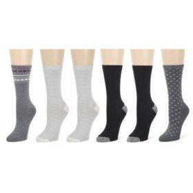 Cuddl Duds® 6 Pair Pack Plushfill® Midweight Crew Socks
