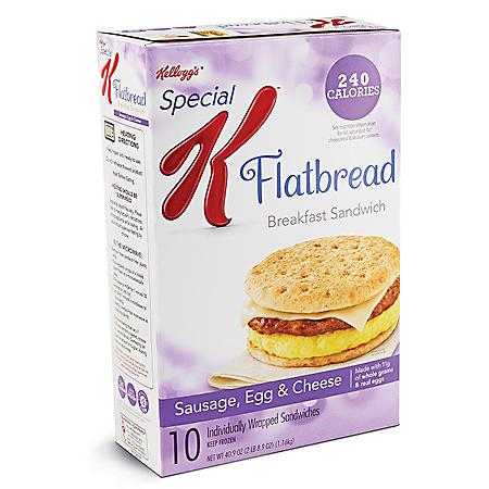 Special K Flatbread Breakfast Sandwiches - Sausage, Egg & Cheese - 50.4 oz. - 10 ct.