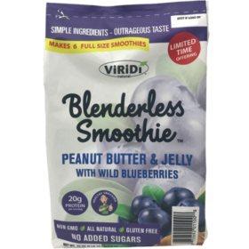 Viridi Blenderless Smoothie Peanut Butter & Jelly with Wild Blueberries, Frozen Smoothie Chips (42 oz.)