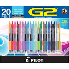 Pilot G2 Premium, Metallics and Pastel Retractable Gel Ink Rolling Ball Pens, Fine Point, Assorted Ink