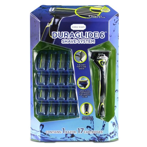 Simply Right Duraglide 6 Shave System (1 Handle & 17 cartridges)