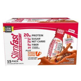 SlimFast Advanced Energy Caramel Latte High Protein Ready to Drink Meal Replacement Shakes (11 fl. oz., 15 pk.)