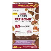 SlimFast Keto Fat Bomb, Peanut Butter Cup and Caramel Nut Clusters, Variety Pack (32 ct.)