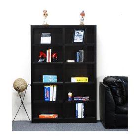 A. Joffe 10-Shelf Double Wide Bookcase, Select Color