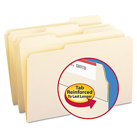 Smead 1/3 Cut Assorted Positions File Folders, Reinforced Top Tab, Legal, Manila, 100ct.