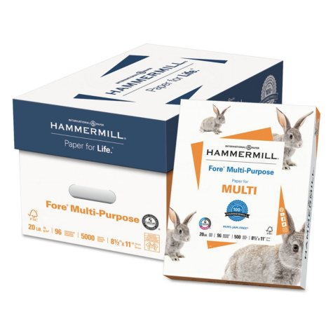 "Hammermill - Fore Multipurpose Paper, 20lb, 96 Bright, 8-1/2 x 11"" - Case"