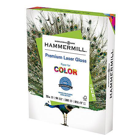 "Hammermill - Color Laser Gloss Paper, 32lb, 94 Bright, 8-1/2 x 11"" - 300 Sheets"
