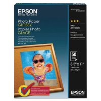 """Epson Glossy Photo Paper, 52 lb., Glossy, 8.5"""" x 11"""", 100 Sheets/Pack"""