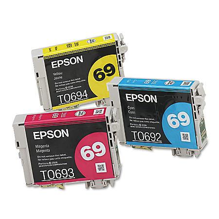 Epson 69 DURABrite Ink, Cyan/Magenta/Yellow (3 pk.)
