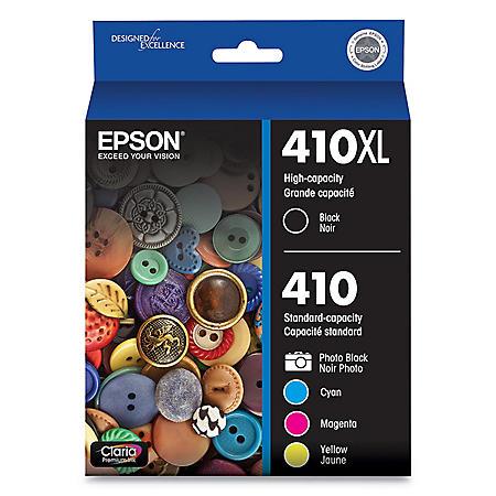 Epson T410XLBCS (410XL) Claria High-Yield Ink, 650 Pg-Yield, Black/Cyan/Magenta/Yellow