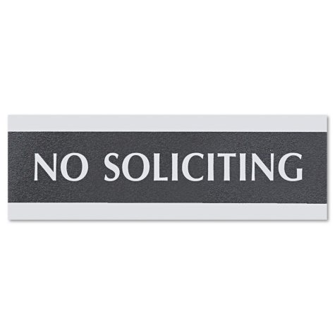"""Headline Sign Century Series Office Sign - """"No Soliciting"""" - Black/Silver"""