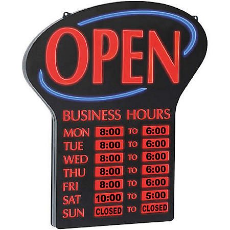 What Time Does Sams Club Open On Sunday >> Newon Led Lighted Open Sign W Business Hours Sam S Club