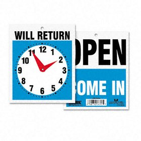 Headline Double-Sided Open/Will Return Sign w/Clock Hands