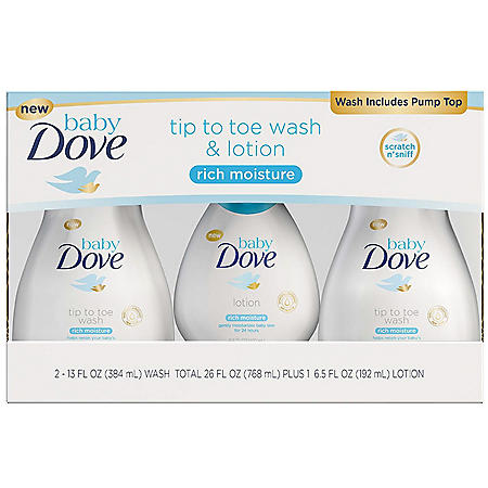 Baby Dove Tip to Toe Wash & Lotion (2 - 13 fl. oz. & 1 - 6.5 fl. oz.)