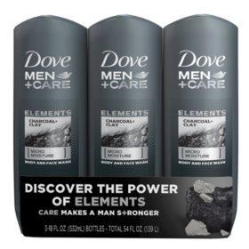 Dove Men Care Body Wash Charcoal Clay 18 Fl Oz 3 Pk Sam S Club