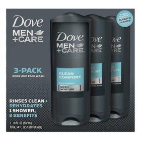 Dove Men Care Body And Face Wash Clean Comfort 18 Oz 3 Pk Sam S Club